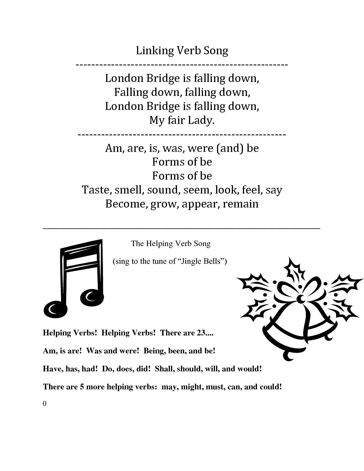 small resolution of Linking Verb Song lyrics (to London Bridge is falling down) And Helping Verb  Song (to Jingle Bells)   Linking verbs