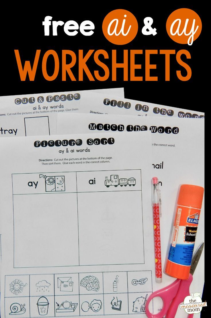 Worksheets for ai \u0026 ay words - The Measured Mom   Phonics worksheets free [ 1110 x 736 Pixel ]