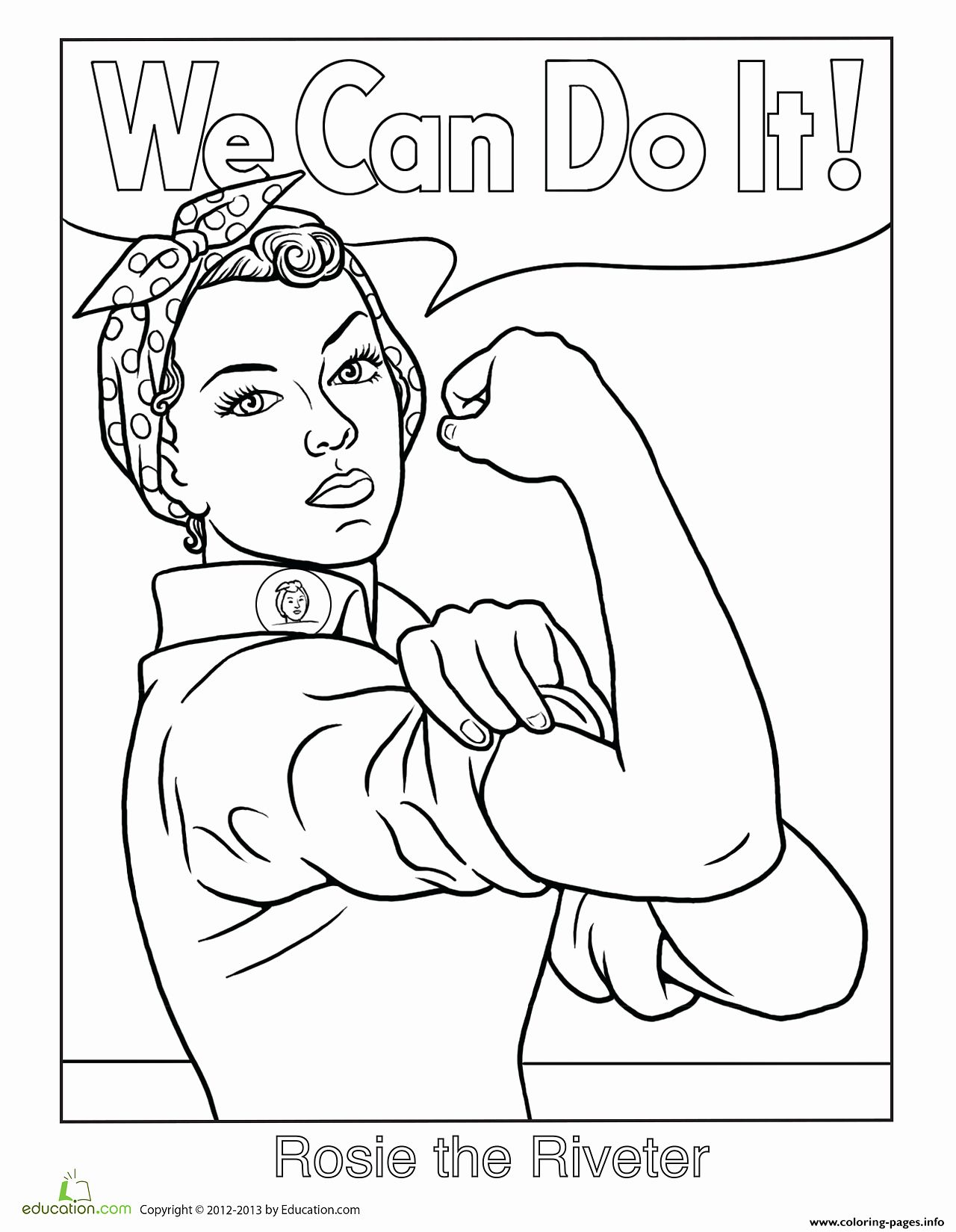 Rosie The Riveter Coloring Page Fresh Rosie The Riveter We Can Do