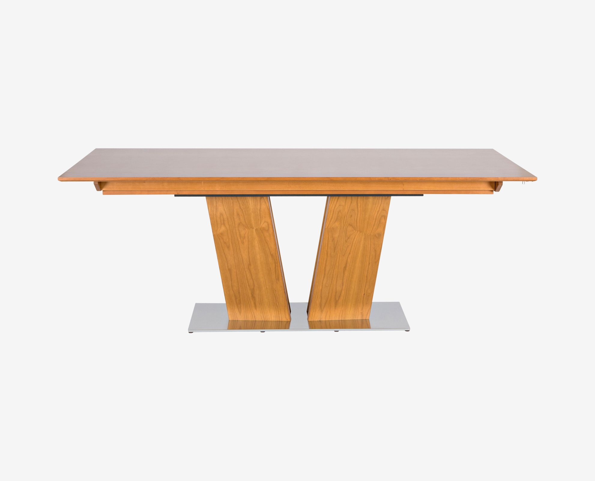 With A Dynamic Appearance The Hadsten Dining Table Features Sculptural V Shaped Base Undivided Tabletop Easily Reveals Hidden Extension Leaf At