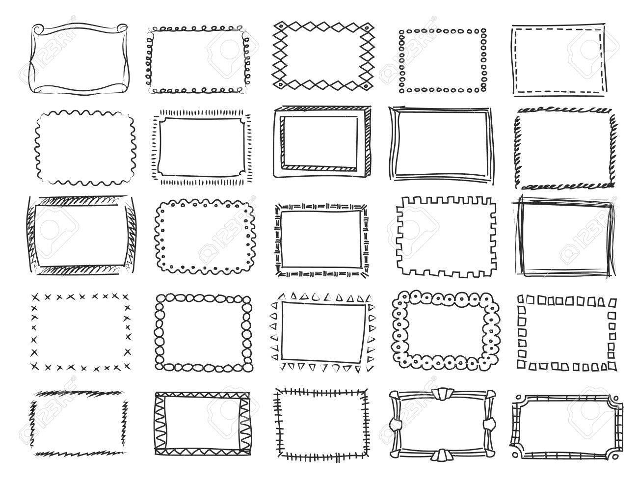 Simple doodle, sketch square vector frames Pencil effect ...