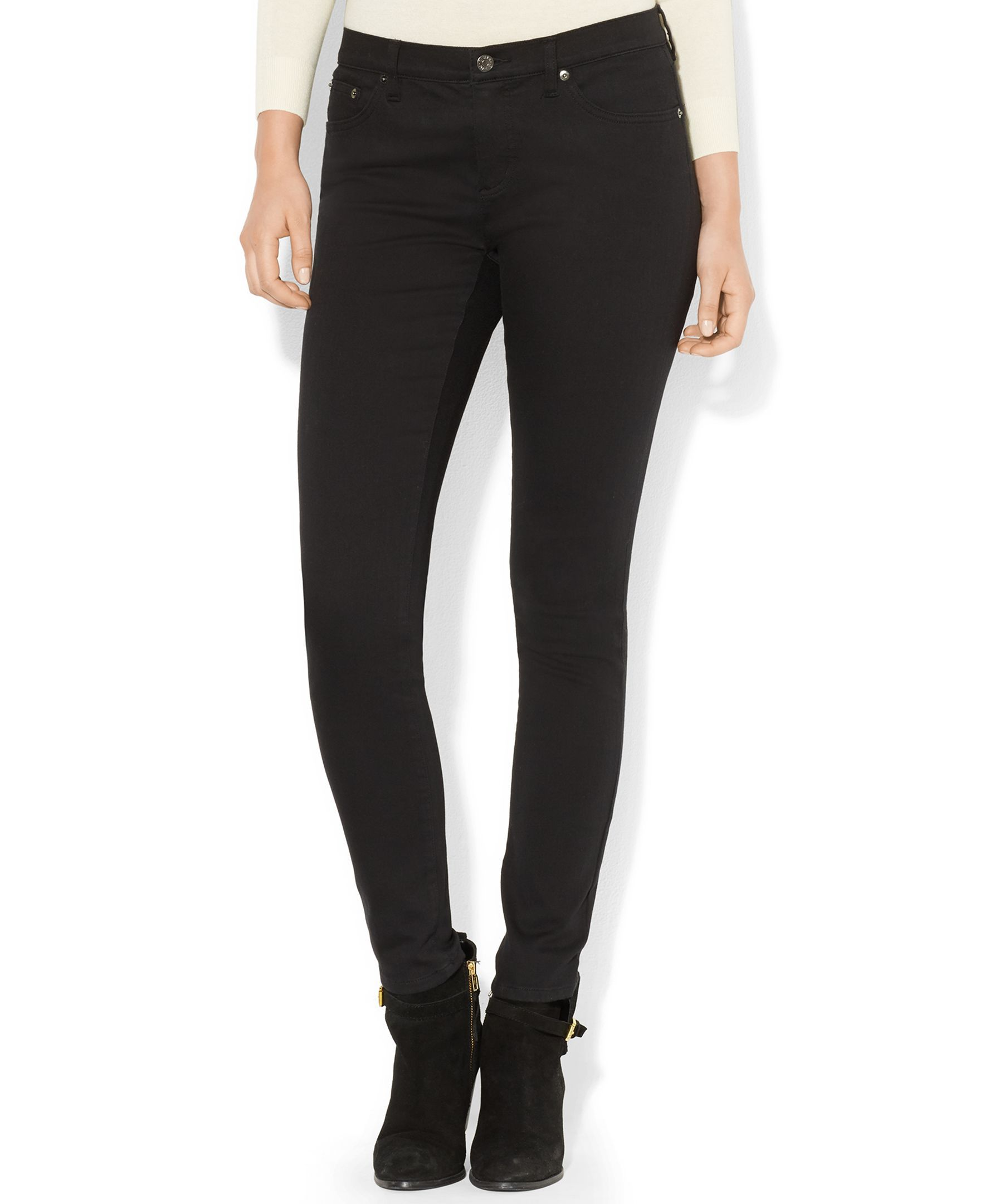 Lauren Jeans Co. Super-Stretch Skinny-Leg Jeans, Black Wash