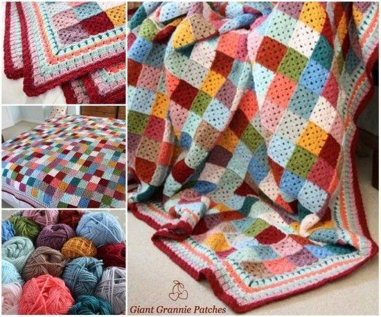 Giant Granny Square Blanket Free Pattern Granny Squares Free
