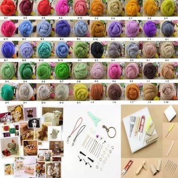 F85 envío gratis 50COLOR lana de fibra de aguja fieltro fieltro agujas + Starter Kits Mat herramientas