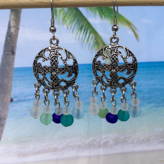 Sea Glass Bohemian style Earrings Beach Glass by SeasideJewelry1