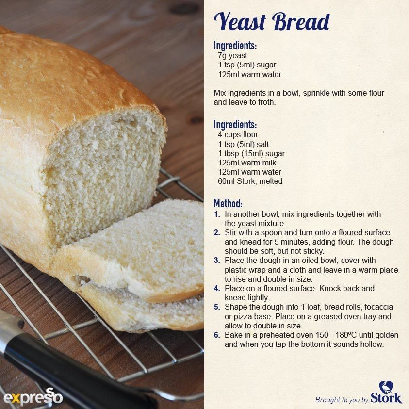 Homemade yeast bread | No yeast bread, Stork recipes, Recipes