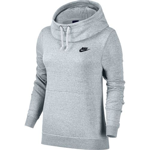 a54c741dd5ef Nike Women s Sportswear Funnel Neck Hoodie (Birch Heather White Black