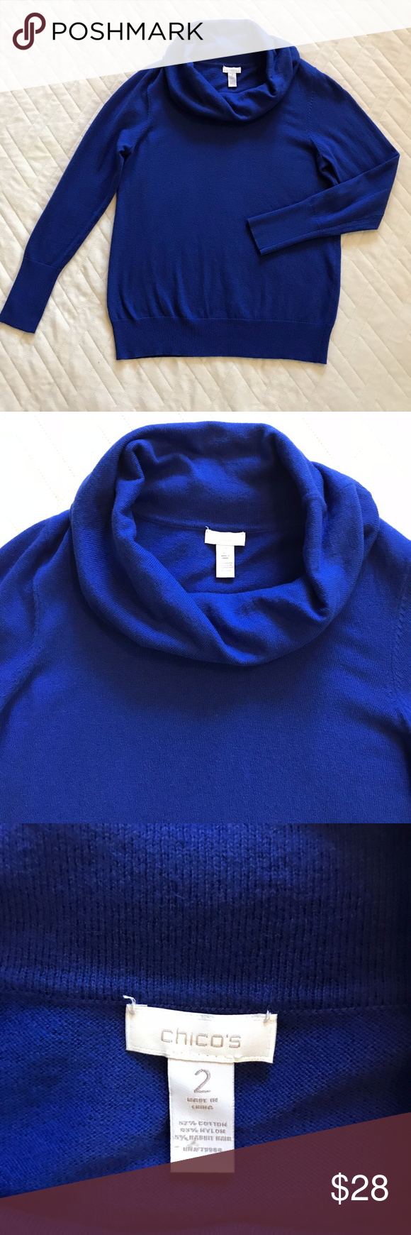 Chico's Royal Blue Cowl-Neck Sweater 2 Large | Cowl neck, Royal ...