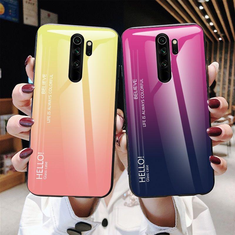 For Xiaomi Redmi Note 8 Pro Gradient Soft Silicone Frame Cover Xiaomi Chic Phone Case Soft Silicone