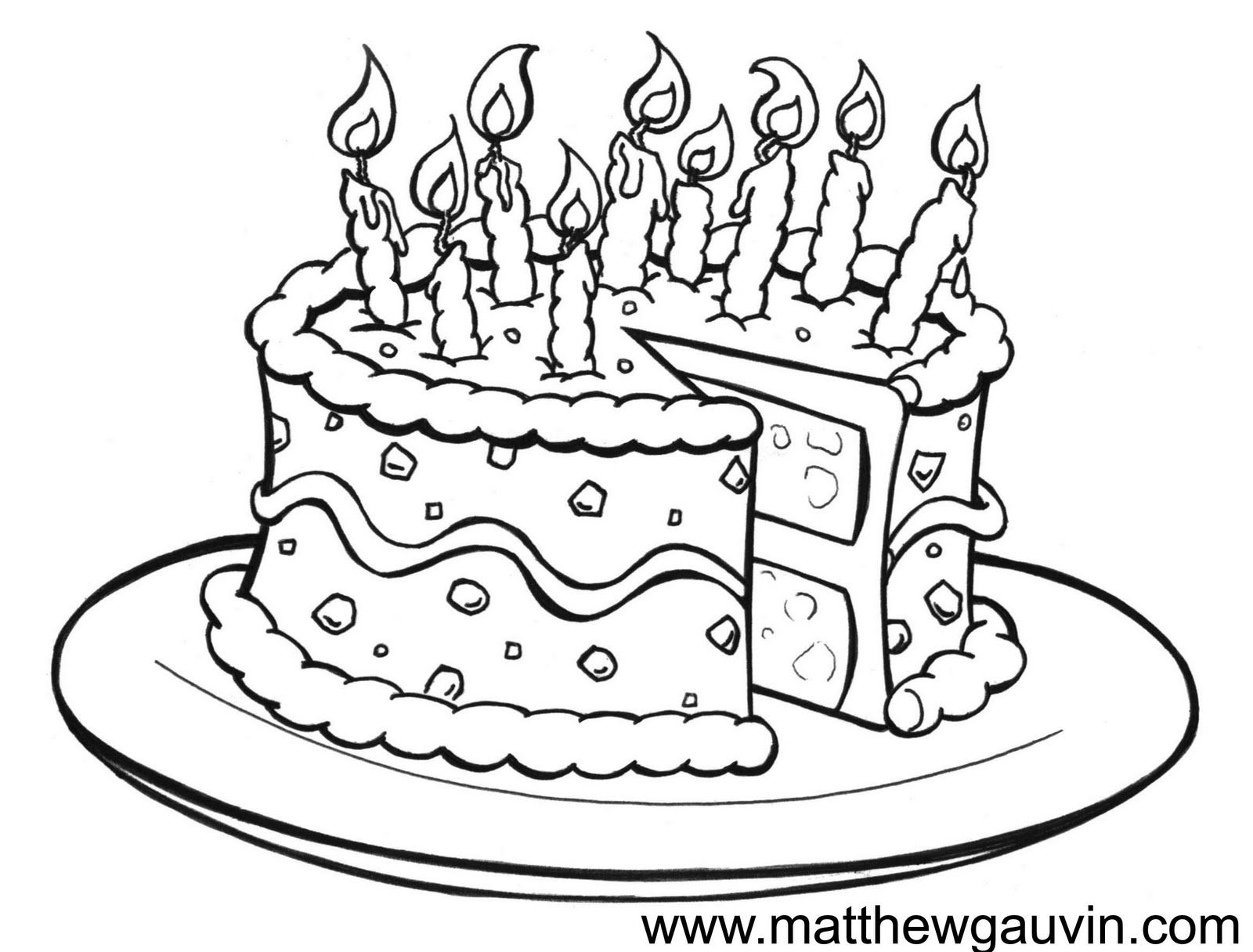 MG Children\'s Book Illustrations: Birthday cake Line Drawing ...