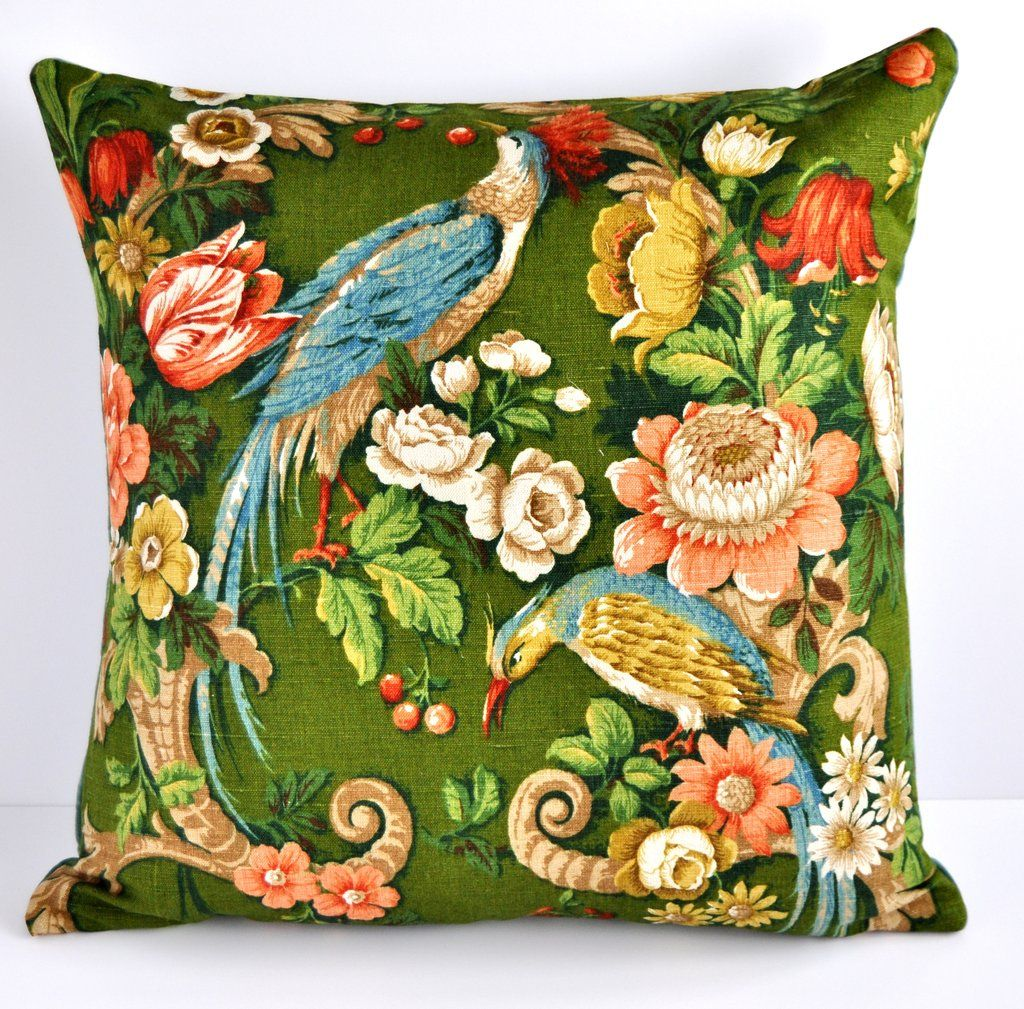 Slaapkamer Fabric Made To Order Large Cushion In Vintage Sanderson Exotic Bird