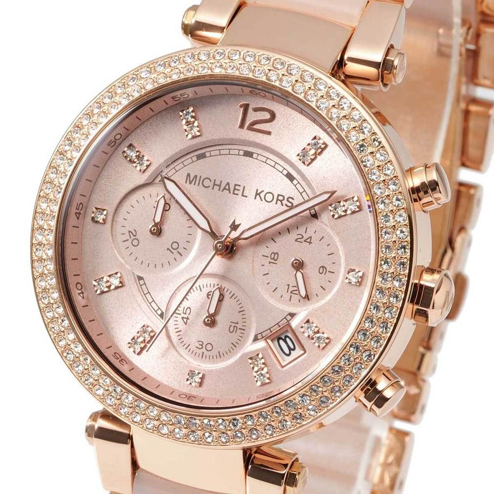 c6524f290adf Michael Kors MK5896 Parker Blush Rose Gold-Tone Chrono Ladies Watch MK5896
