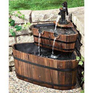 Wooden Barrel Corner Water Fountain Outdoor Patio Garden Decor