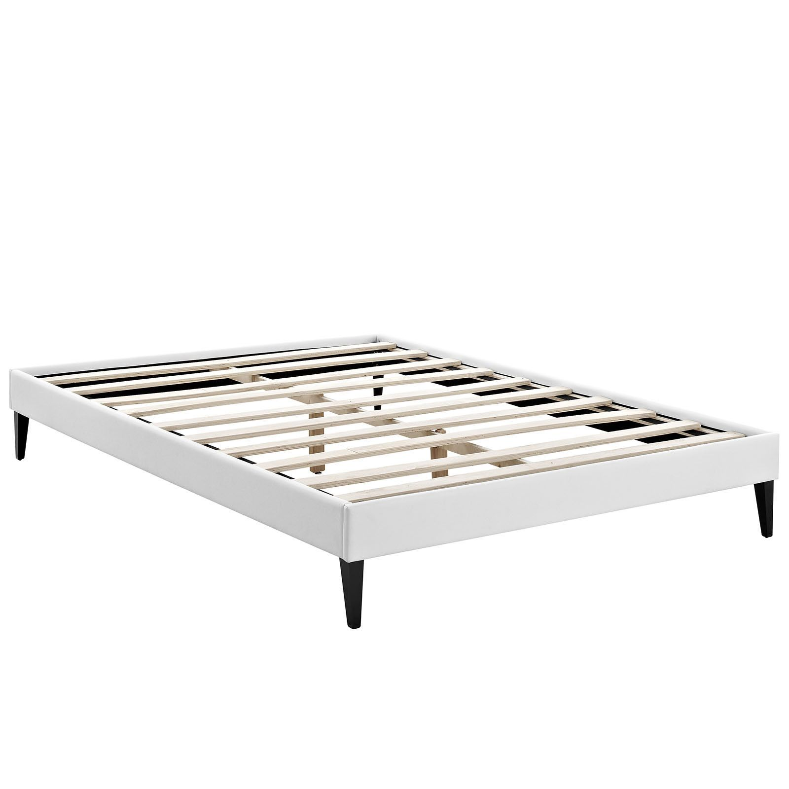 Sharon Full Vinyl Bed Frame with Squared Tapered Legs - White | Bed ...