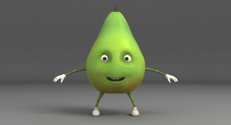 3d Model Pear Cartoon Character Juice Sweet Poire Food