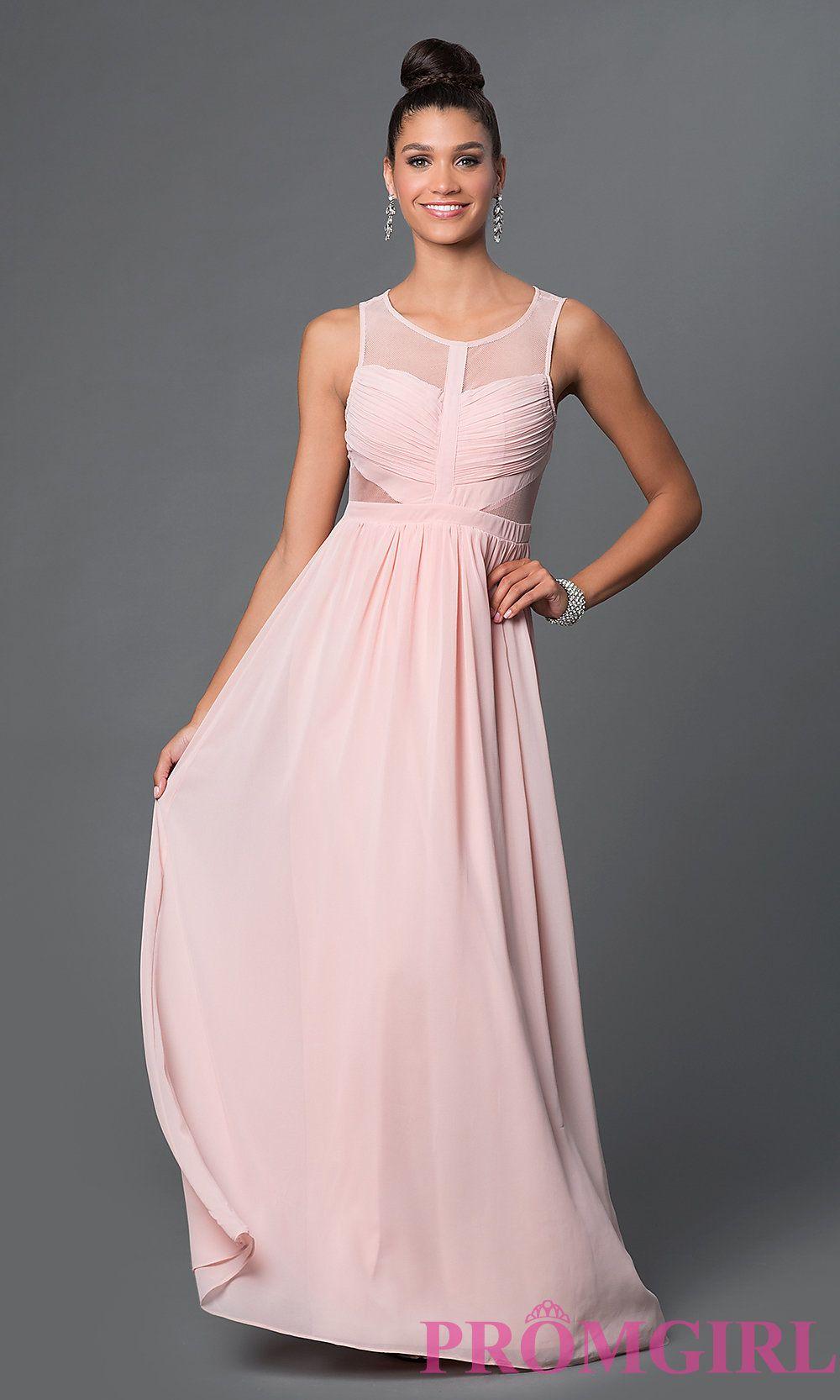 Image of long sleeveless side sheer cut out illusion back dress