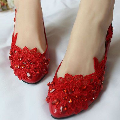 412040892c7 New Women s Red Flats Low Heels Wedding Lace Pearl Flower Bride Bridesmaid  Shoes Lace Flats