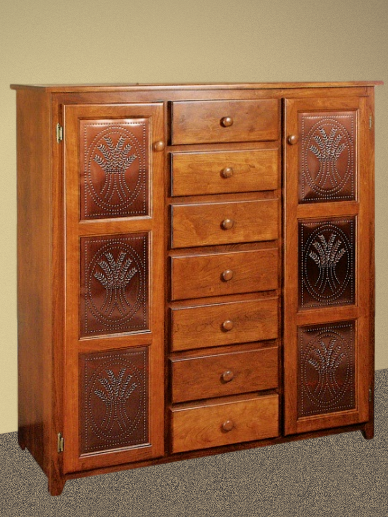 This Jumbo Classic Amish Pie Safe Has 7 Drawers And 2 Cupboard Doors Open To Reveal Abundant Storage Space F Pie Safe Wooden Doors Leaded Glass Cabinet Doors