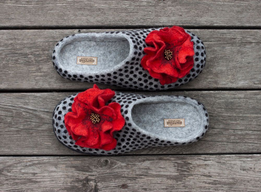 32e4d1e57fce0 Felted women slippers wool home shoes grey slippers polka dots ...