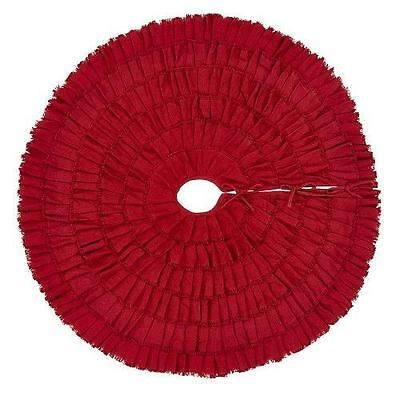 Tree Stands Skirts and Storage 166726 Red Burlap Ruffled Xmas