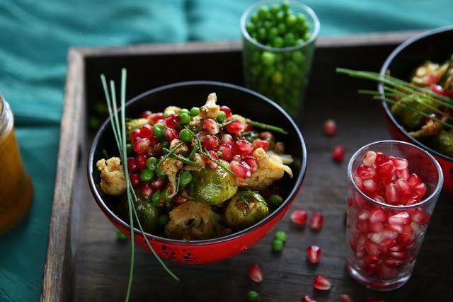 Marokkanisch-Spiced Geröstete Rosenkohl und Blumenkohl