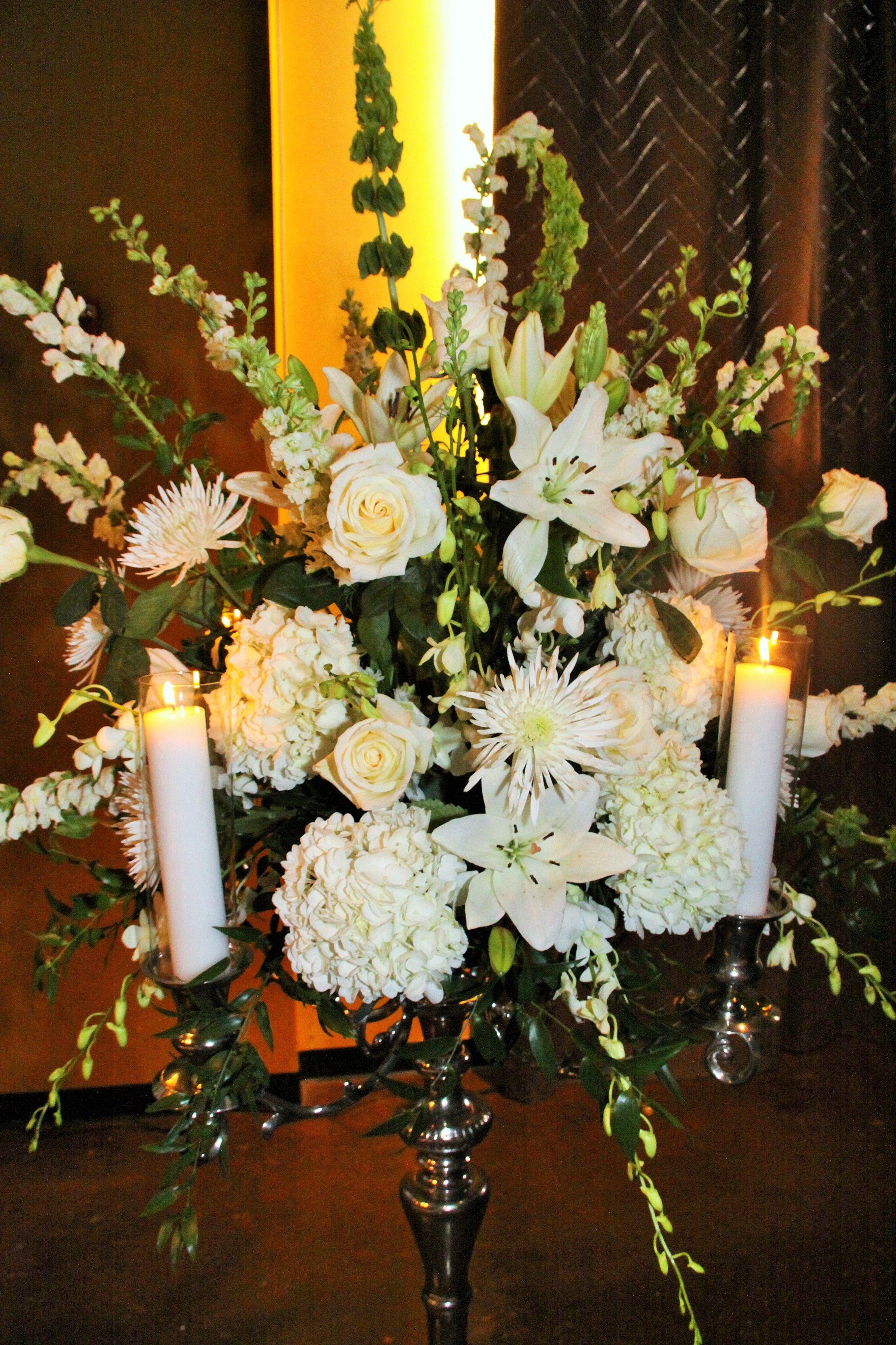 Mixed White Wedding Fl Arrangement On Large Candelabra