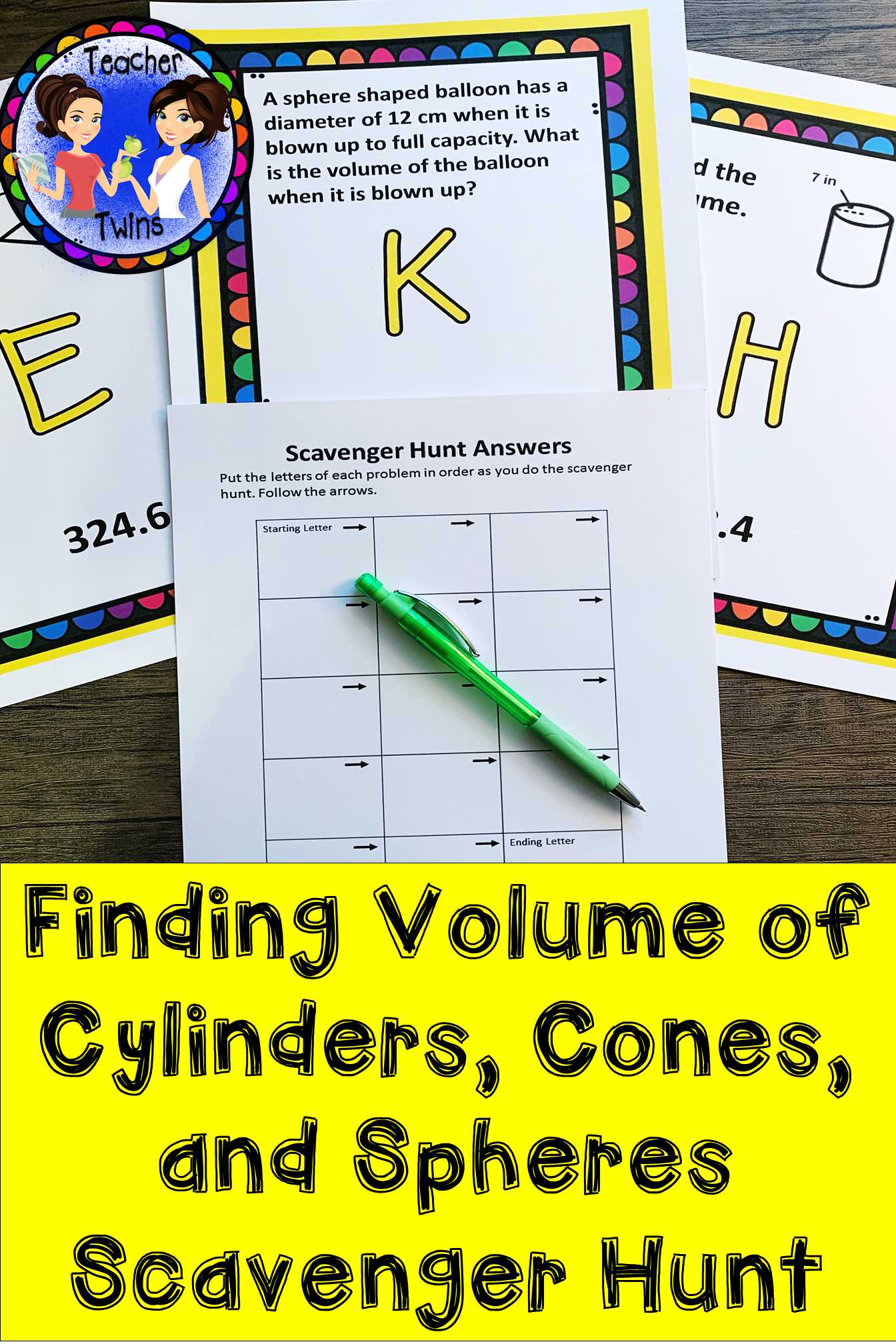 Volume Of Cylinders Cones And Spheres Scavenger Hunt
