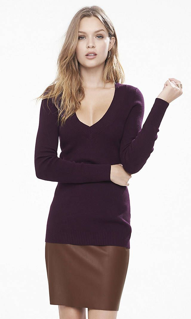 Deep V-neck Fitted Tunic Sweater   Express   Style Wishlist ...