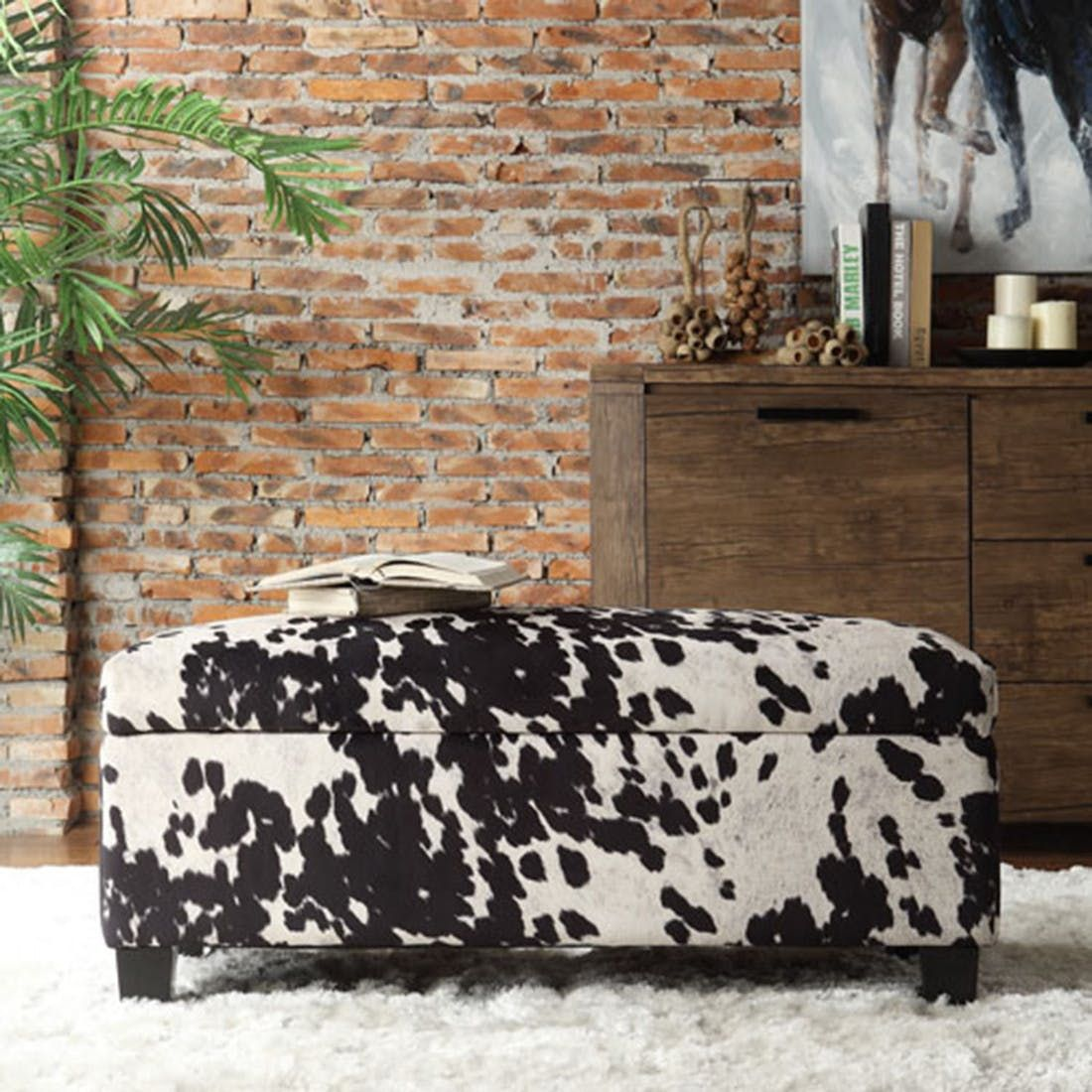 Storage Ottoman With Lift Top Faux Cowhide Cow Print Footstool Storage Bench Storage Ottoman Bench Cowhide Print