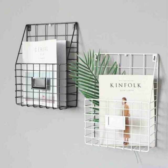 Simple Style Wire Magazine Newspaper Basket Wall Mounted Post Storage Rack Black Ebay Magazine Rack Wall Baskets On Wall Wooden Magazine Rack