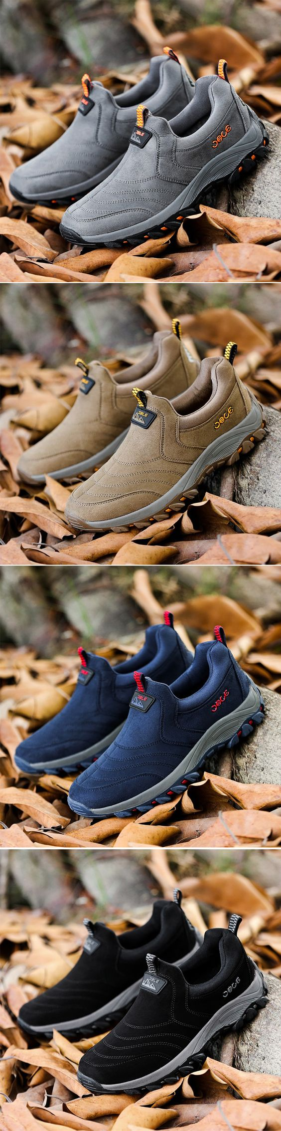 US35.33 Men Slip On Shock Absorption Non-slip Outdoor Hiking Casual Sneakers