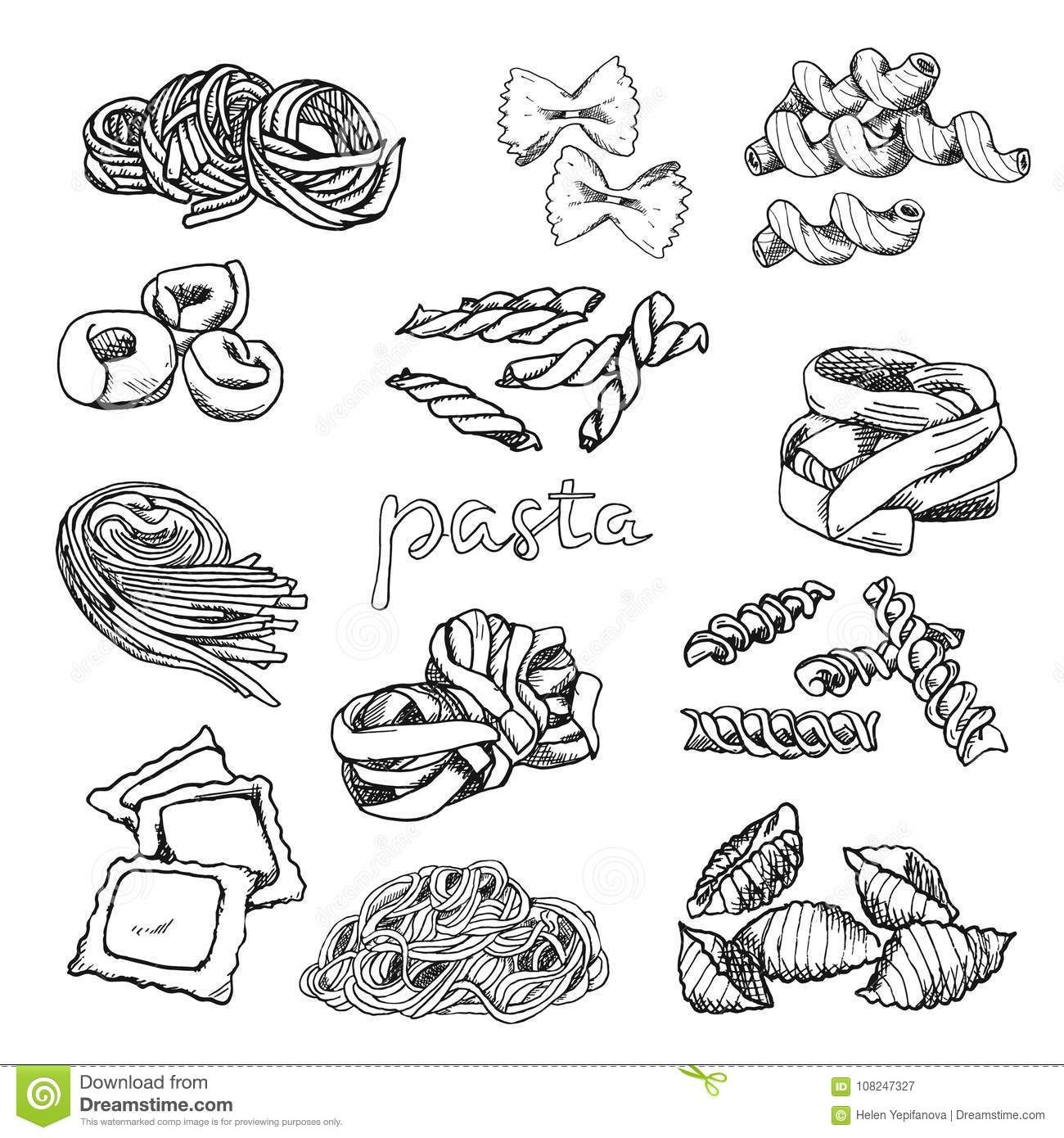 Vector Illustration Wallpaper Backdrop Vintage Hand Drawn Sketch Collection Of Pasta Macaroni Stock Vector Il Food Sketch How To Draw Hands Illustration