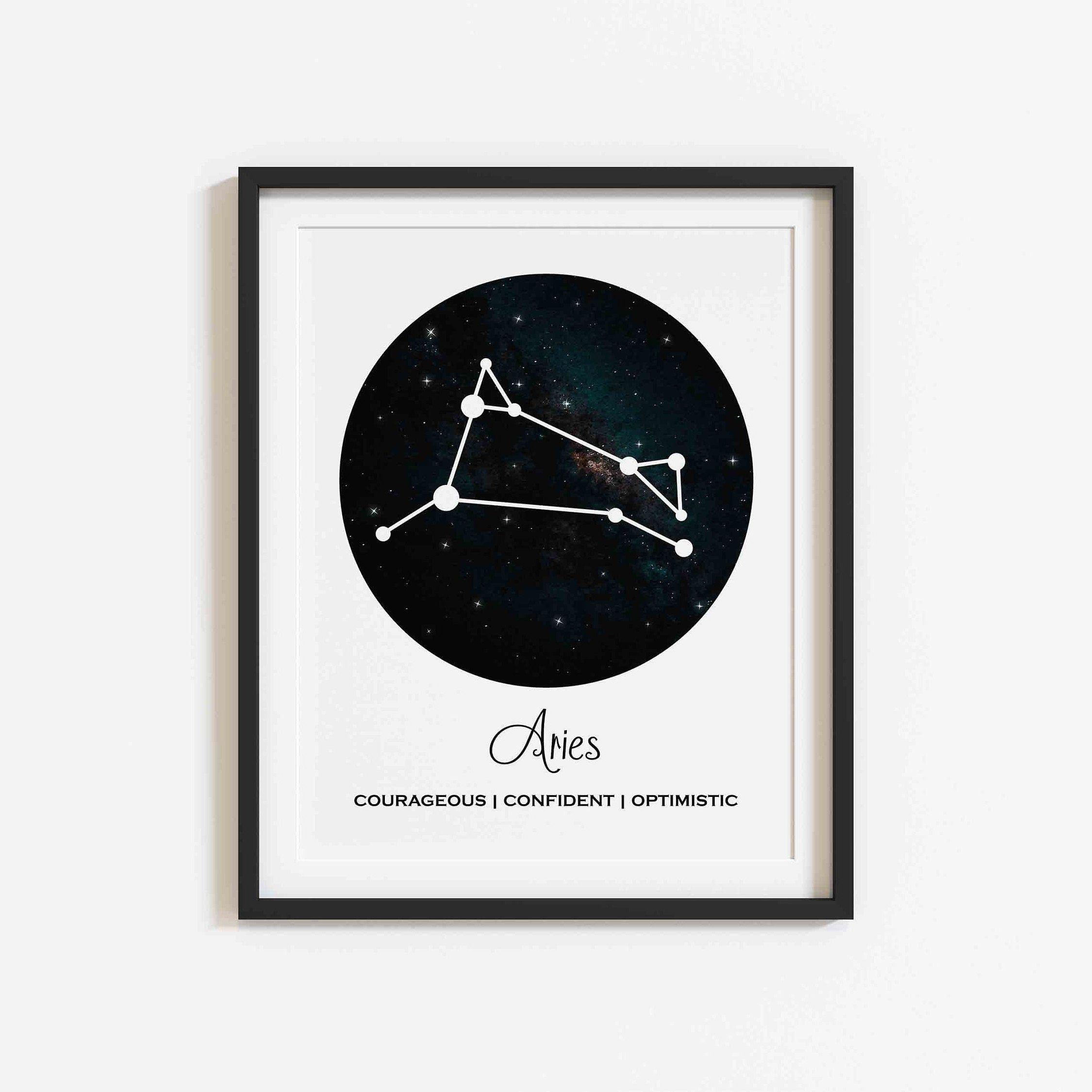 Aries Print Zodiac Wall Art Aries Zodiac Star Sign Print Astrology Wall Art Celestial Print Constellation Print Zodiac Sign Astrology Sign Printing Constellation Print Star Signs