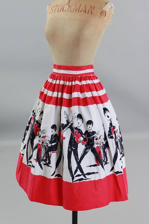 89ff6c222c Vintage 1960s 60s original novelty print Beatles border skirt ...