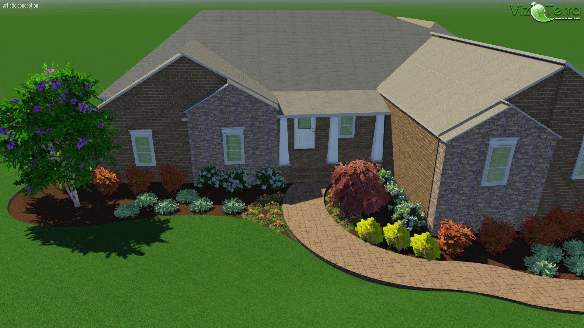 Front foundation planting design including encore azalea for Foundation planting plans
