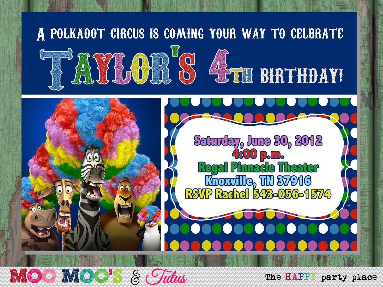 Printable POLKADOT CIRCUS Madagascar 3 Inspired Birthday Invitation ...