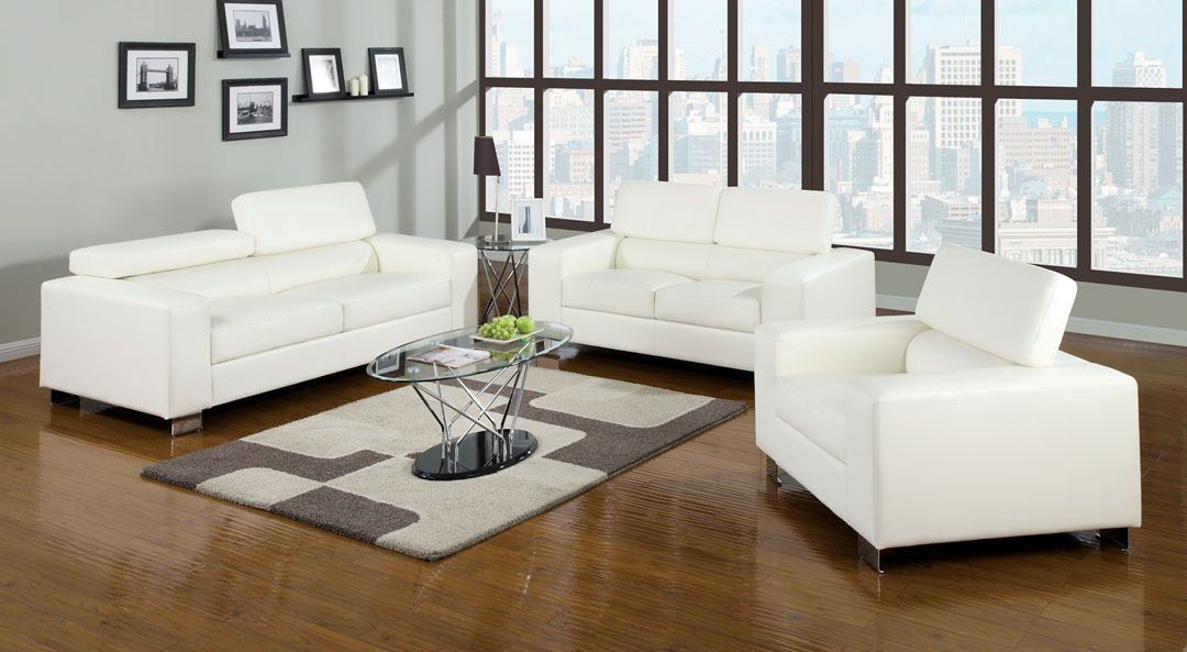 2 Pc Contemporary Modern Style Makri White Bonded Leather Sofa And Love Seat With Foldable Headrests Chrome Legs The Squared Arm