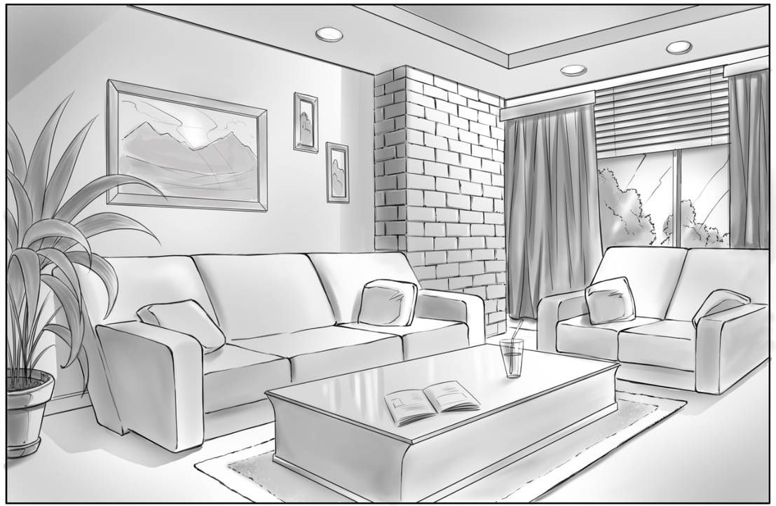 Drawing A Scene With 2 Point Perspective By Https Www Deviantart