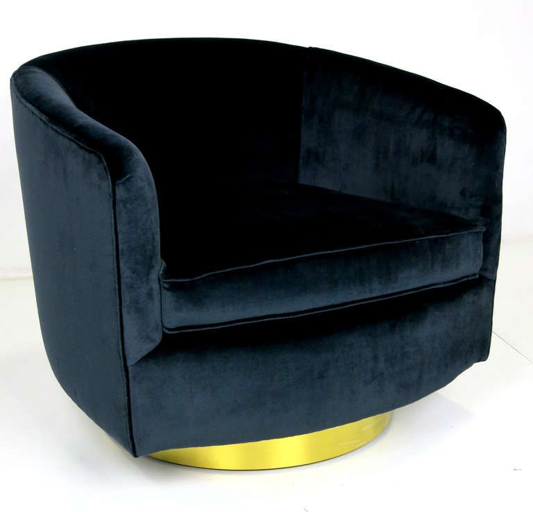 Pair Of Navy Blue Velvet Swivel Chairs By Milo Baughman