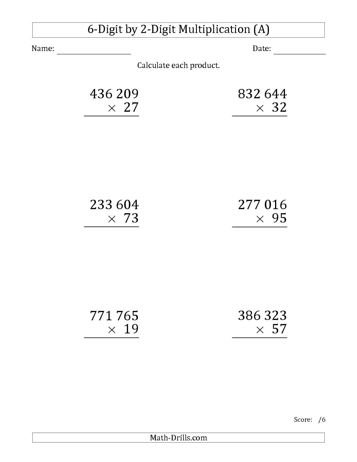 The Multiplying 6 Digit By 2 Digit Numbers Large Print With Space Separated