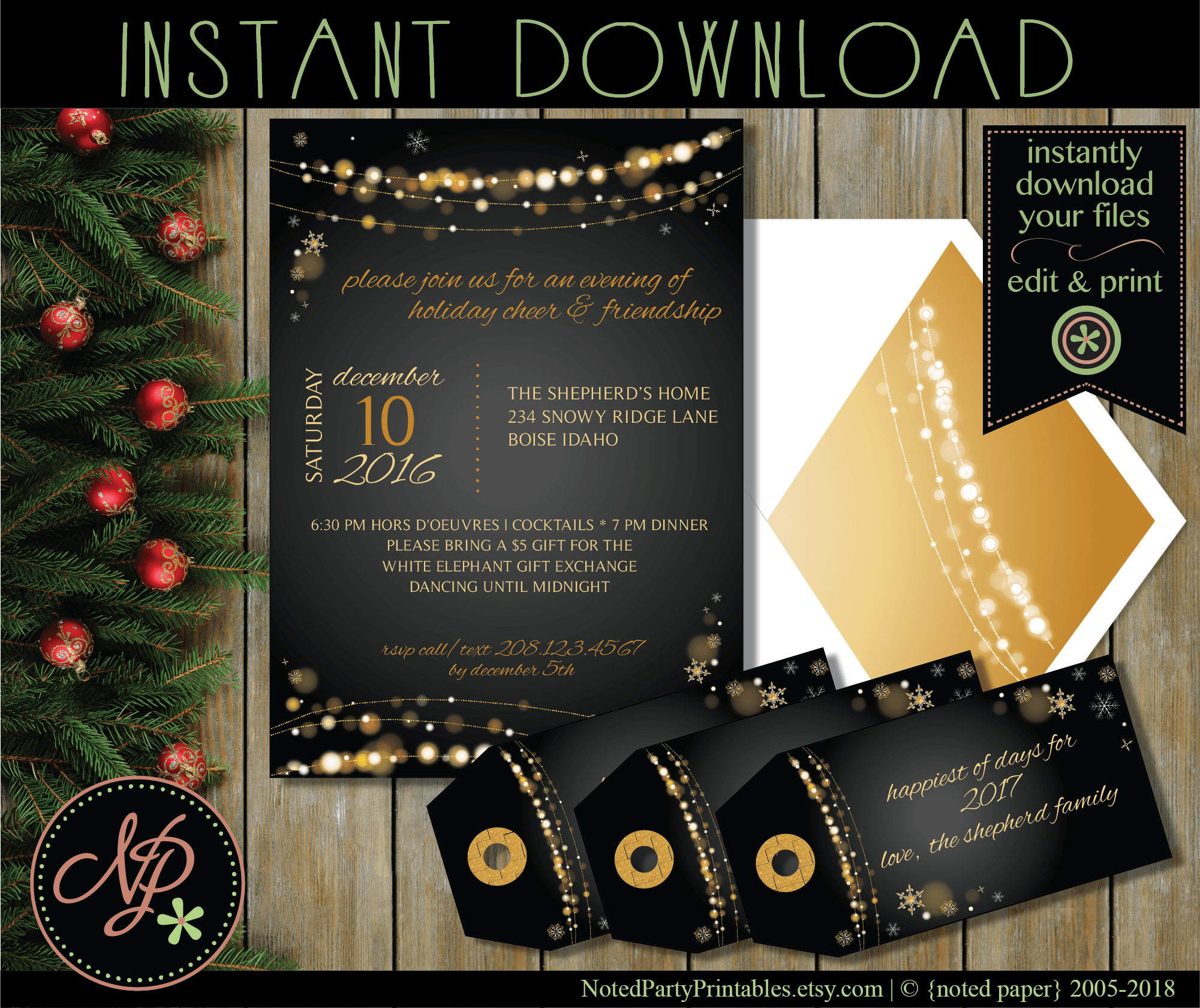 Beautiful Christmas Lights. DIY Editable & Printable Invite. Print ...