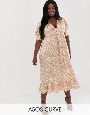 5dbefb9b854e DESIGN Curve knot front midi dress in natural zebra print in 2019 ...