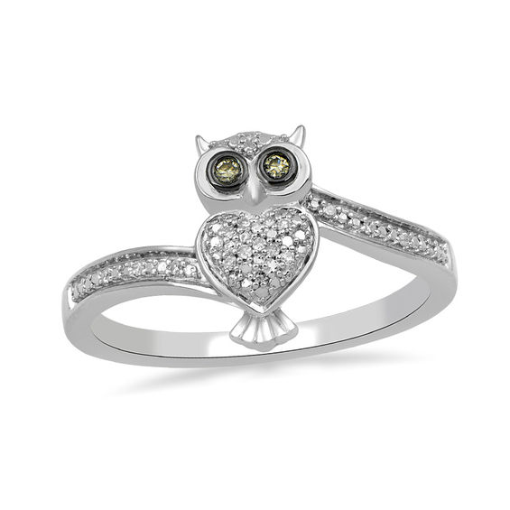 1 20 Ct T W Champagne And White Diamond Bypass Owl Ring In Sterling Silver Zales In 2020 Owl Jewelry Ring Sterling Silver Necklace Pendants Silver Engagement Rings
