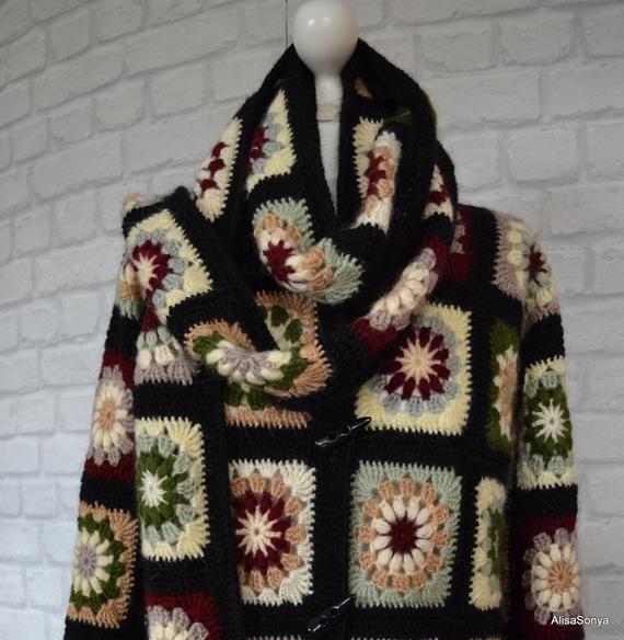 Uncinetto cappotto giacca nonna quadrati cappotto cardigan