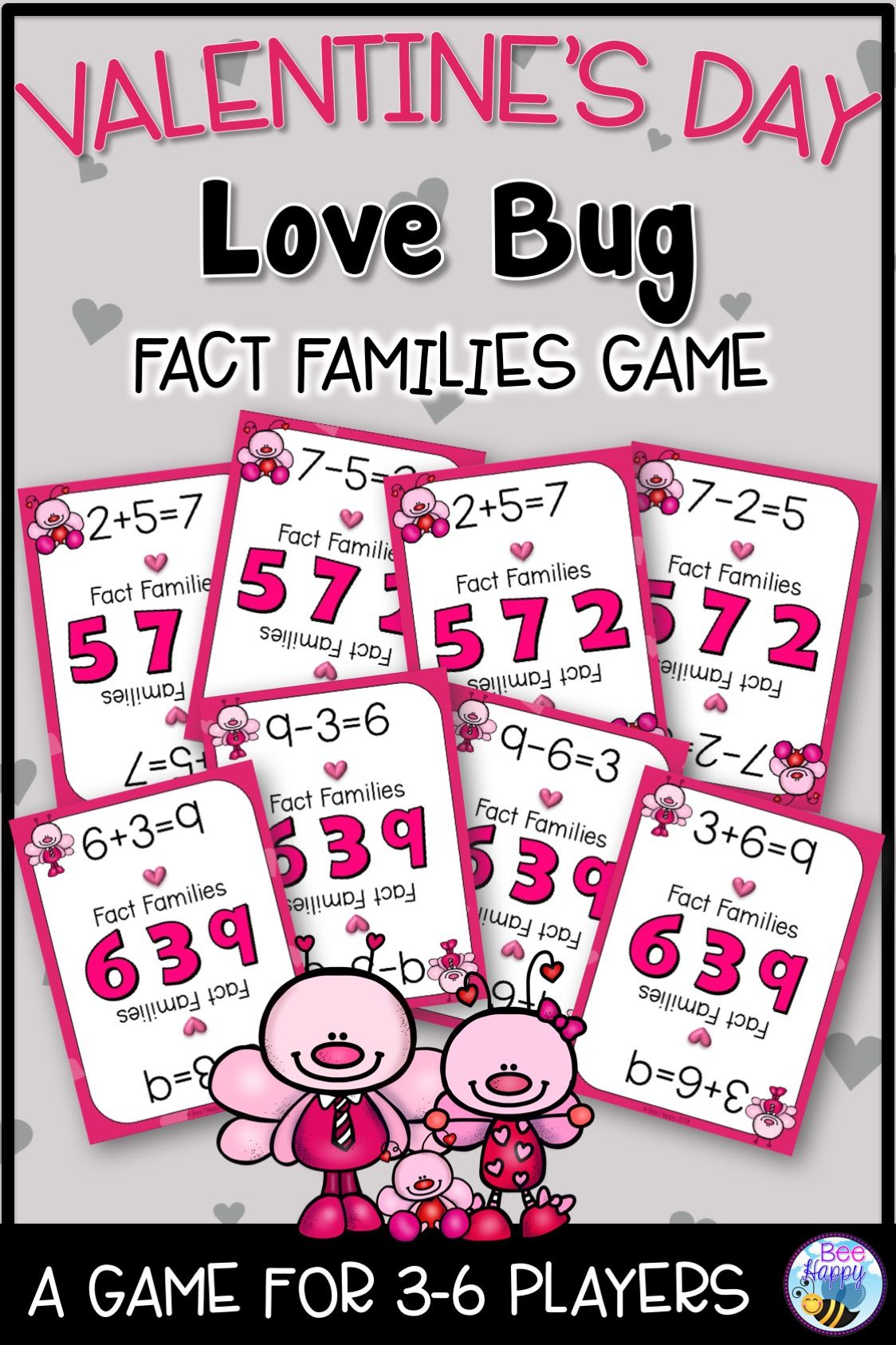 Valentine\'s Day Fact Families Game | Maths, Fact families and ...