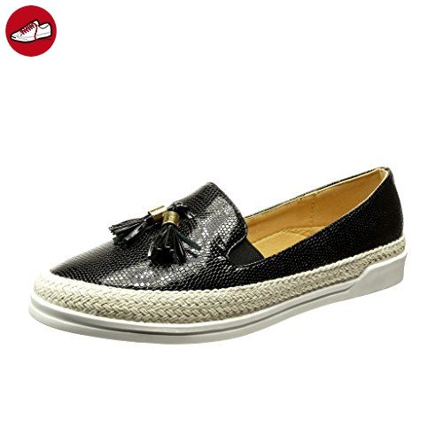 Angkorly Damen Schuhe Sneaker Espadrilles - Slip-On - Gesteppt Schuhe - Patent - Seil Flache Ferse 2 cm - Schwarz Weiß 151-16 T 37 bUJEQ3EiLV