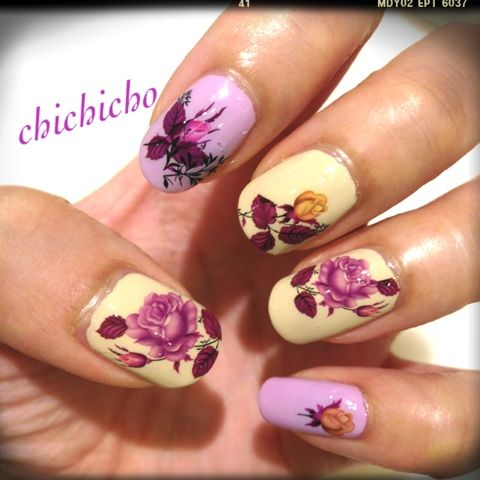 Plain Purple Roses Water Decal | chichicho~ nail art addicts