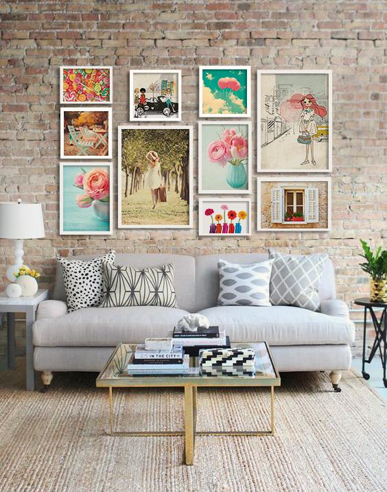 Composição de quadros ou posters com 10 itens - Romântica - Top Quadros