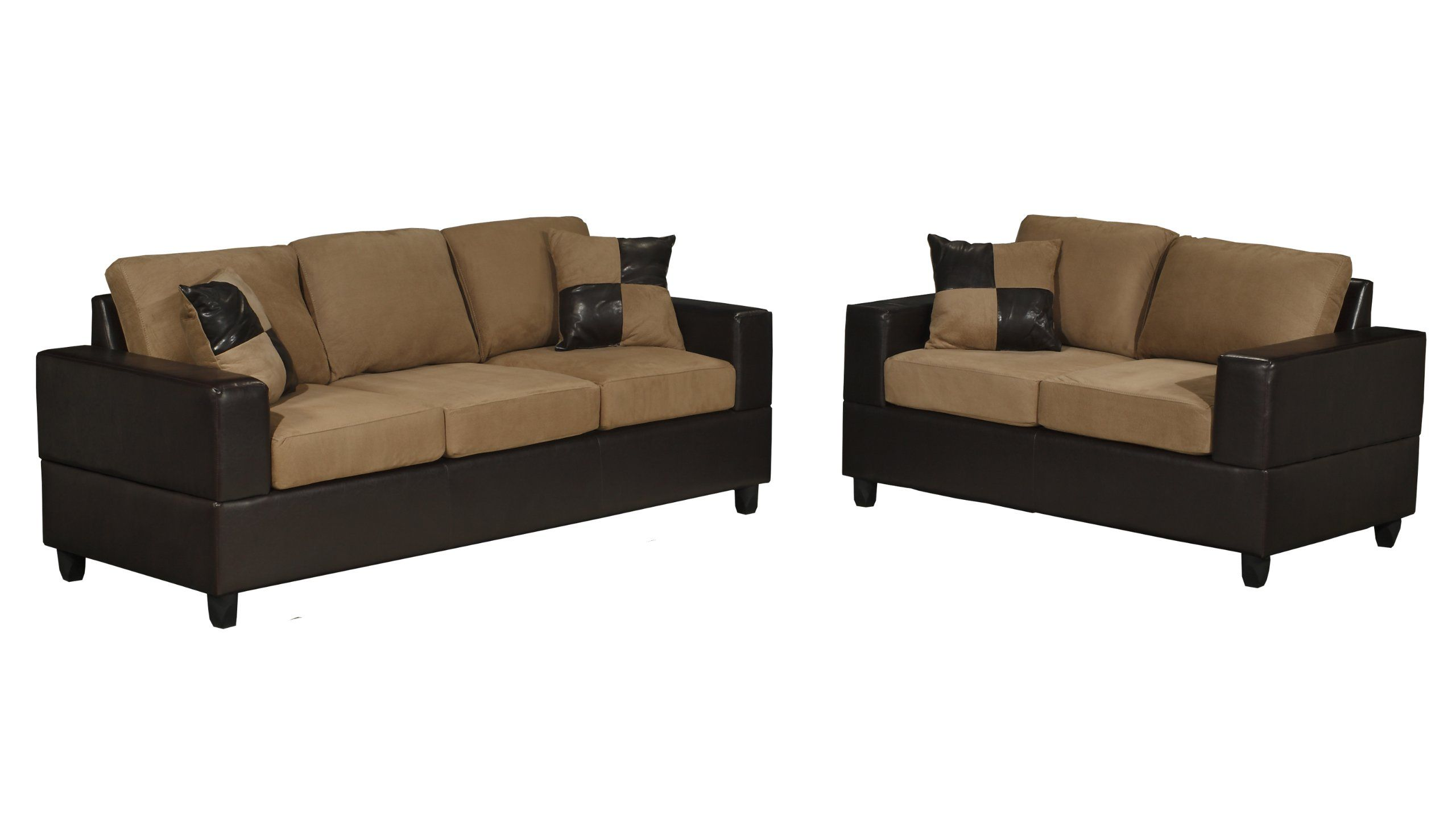$524 Bobkona Seattle Microfiber Sofa and Loveseat 2-Piece Set in ...
