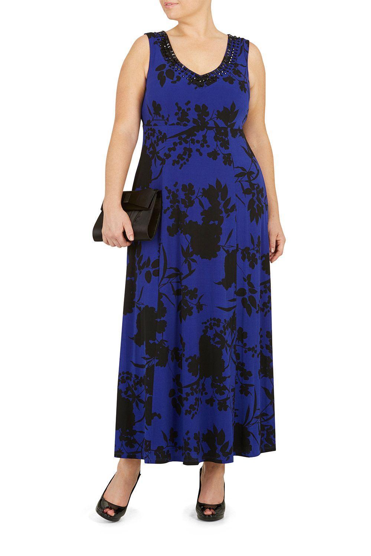 47117182c8 Ladies Blue Ann Harvey Beaded Trim Abstract Floral Maxi Dress Bonmarché